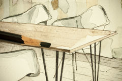 Vattenfärgaquarellefärgpulver skissar freehand den arkitektoniska teckningen för perspektivet av matsal av en lägenhetlägenhet me Fotografering för Bildbyråer