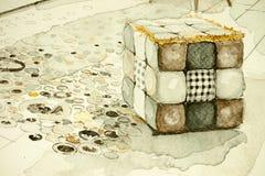Vattenfärgaquarellefärgpulver skissar freehand den arkitektoniska teckningen för perspektivet av puffstycket av möblemang stock illustrationer