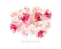 Vattenfärgbackgrounde, rosa rosor och pionbukett, blommor vektor illustrationer