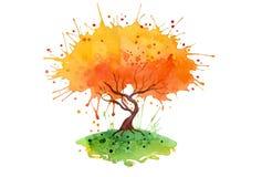 Vattenfärgbakgrund för orange träd Royaltyfria Bilder