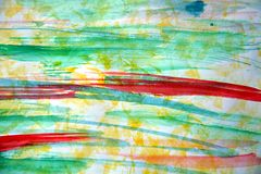 Vattenfärgbakgrund i gula röda gröna toner Arkivbild
