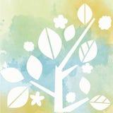 Vattenfärgbakgrund med trädet Royaltyfria Foton