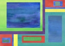 Vattenfärgbakgrund som kombineras med enhetliga signalfyrkanter stock illustrationer