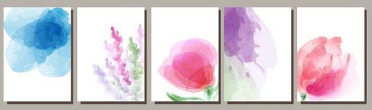 Vattenfärgbakgrund, uppsättning, ljus tryckdesign stock illustrationer