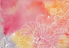 Vattenfärgbakgrunden med utdragna blommor och växter för garnering vektor för ramillustrationtext Hälsningkort med klotterprydnad stock illustrationer