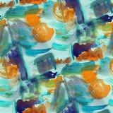 Vattenfärgbakgrundsblått, brunt sömlöst texturabstrakt begrepp smärtar stock illustrationer