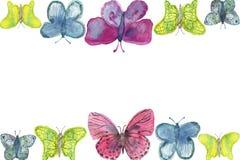 Vattenfärgbaner av ljusa stora färgrika fjärilar som isoleras på en vit bakgrund royaltyfri illustrationer