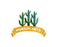 Vattenfärgbanerband Husväxter kaktus isolerad kruka mörk paper vattenfärgyellow för forntida bakgrund vektor stock illustrationer