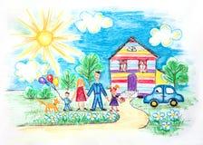 Vattenfärgbarn skissar med den lyckliga familjen Royaltyfria Bilder