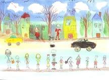 Vattenfärgbarn som drar att gå för ungar Arkivbilder