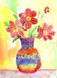 Vattenfärgbarn som drar blommor Royaltyfria Bilder