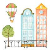 Vattenfärgbeståndsdelar av den stads- designen, hus, träd, staket, ballong Arkivbild