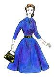 Vattenfärgbild - ung kvinna i retro stilklänning Royaltyfria Bilder