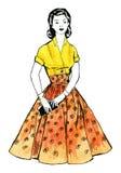 Vattenfärgbild - ung kvinna i retro stilklänning Arkivfoton