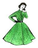 Vattenfärgbild - ung kvinna i retro stilklänning Arkivbilder