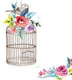 Vattenfärgblommor och fågelbur stock illustrationer