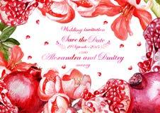 Vattenfärgbröllopkort med granatäpplen Royaltyfri Foto