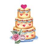 Vattenfärgbröllopstårta Hand dragen tappningillustration Arkivbild