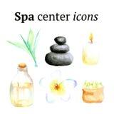 Vattenfärgbrunnsortsymboler i tappningstil Arkivbilder