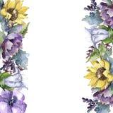 Vattenfärgbukettblommor Blom- botanisk blomma Fyrkant för ramgränsprydnad vektor illustrationer
