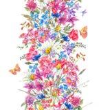 Vattenfärgbuketter av vildblommor och fjärilar vektor illustrationer
