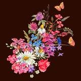 Vattenfärgbuketter av vildblommor och fjärilar stock illustrationer