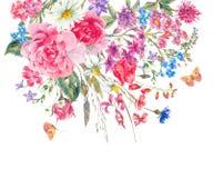 Vattenfärgbuketter av vildblommor och rosor vektor illustrationer