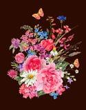 Vattenfärgbuketter av vildblommor och rosor stock illustrationer