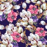 Vattenfärgbukettpil och mimosa på en violett bakgrund seamless modell royaltyfri illustrationer