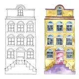 Vattenfärgbyggnader royaltyfri illustrationer