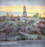 Vattenfärgcityscape Kloster på den branta banken av floden Arkivbilder