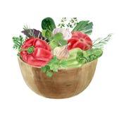 Vattenfärgclipart av grönsaker i bunke Royaltyfri Foto