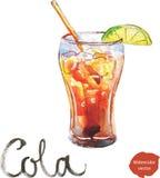 Vattenfärgcola med limefrukt Stock Illustrationer