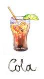 Vattenfärgcola med limefrukt och tubulen Vektor Illustrationer
