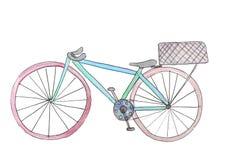 Vattenfärgcykel med en korg Rasterillustration f?r design royaltyfri illustrationer