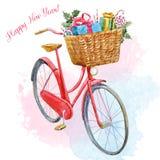 Vattenfärgcykel med gåvor stock illustrationer