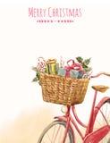 Vattenfärgcykel med gåvor royaltyfri illustrationer