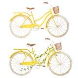 Vattenfärgcykelcykel vektor illustrationer