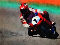 Vattenfärgcykelracerbil Arkivfoton
