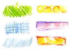 Vattenfärgdesignbeståndsdelar Arkivfoton