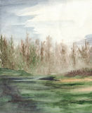 Vattenfärgdimmahus i det wood landskapet för skog Royaltyfria Foton
