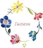 Vattenfärgdragplåster med blommor Arkivbilder