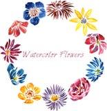 Vattenfärgdragplåster med blommor Royaltyfri Bild