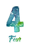 """Vattenfärgen av galaxen eller natthimmel med stjärnor numrerar """"Four"""" Arkivfoton"""