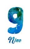 """Vattenfärgen av galaxen eller natthimmel med stjärnor numrerar """"Nine"""" Arkivfoto"""