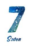 """Vattenfärgen av galaxen eller natthimmel med stjärnor numrerar """"Seven"""" Royaltyfria Foton"""