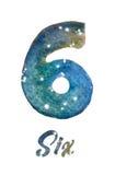 """Vattenfärgen av galaxen eller natthimmel med stjärnor numrerar """"Six"""" Royaltyfri Fotografi"""