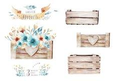 Vattenfärgen blommar bukettuppsättningen med fjädrar Tryck för design för fjäder för akvarellfärg organiskt isolerad knapphandill royaltyfri illustrationer