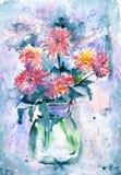 Vattenfärgen blommar i en vas Arkivfoton