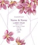 Vattenfärgen blommar kortvektorn Härlig blom- garnering för bröllop eller för födelsedag Inbjudankortmallar royaltyfri illustrationer